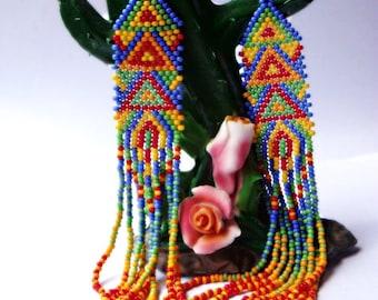 Parrot-Beaded earrings