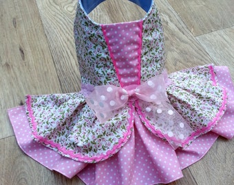 Small dog clothes dress Chihuahua Yorkie coat Pink Flower Wedding, Princess style Dress Size M