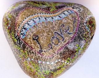 Love Theme 10 lb -- Hand-Painted River Rock