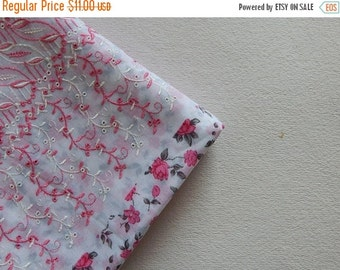 15% OFF 1 yard of White Embroidered Fabric, Indian Cotton Fabric, Chikankari Fabric, Ethnic Fabric, Indian Embroidered Fabric, Floral Fabric