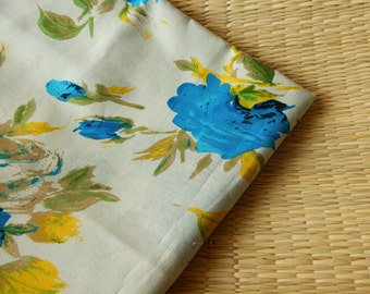 1 yard of Floral Print Fabric, Indian Cotton Fabric, Screen Printed Fabric, Off White Cotton Fabric