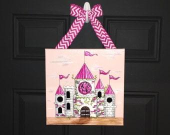 Princess Castle Canvas Art, Baby Girl Gift, Castle Canvas, Princess Art, Nursery Decor, Princess Castle, Girl Nursery Art, Fairy Tale Art