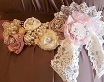 Maternity lace Sash/ custom