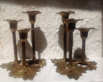 Antique pair French candle holders