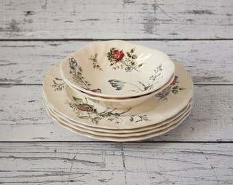 Vintage Day In June Set of 4 Plate & 2 Bowls Johnson Bros Floral Pink Blue Green Ironstone Made In England Scalloped Transferware Plates