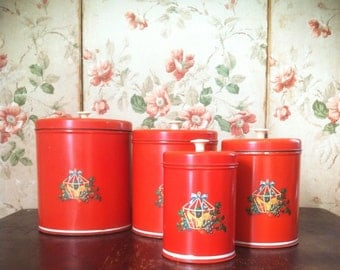 Vintage 1940's Red Fruit Cage Kitchen Canister Set