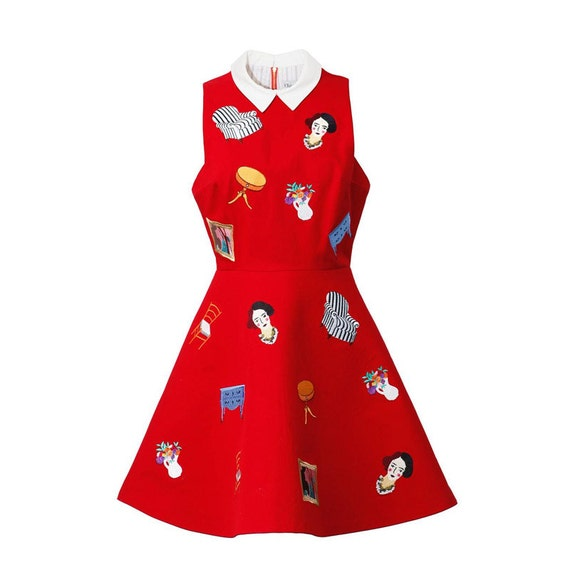 Clearance sale matisse christmas dress fine art embroidered dress