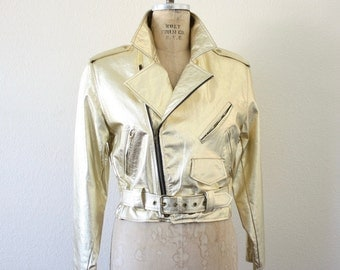 Vintage GOLD Leather Motorcycle Jacket 80s Made in the USA