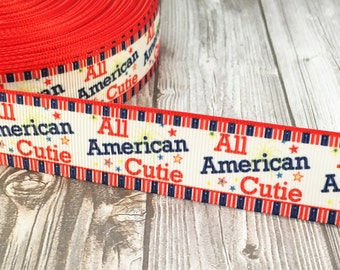 """1"""" Patriotic ribbon - All American cutie - American girl - Red white blue - 3 or 5 yards - Military ribbon - Military daughter - Merica"""