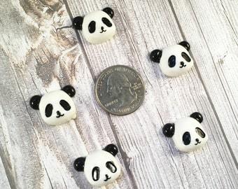 Panda bear resins - Set of 5 - Black and white - Panda bow center - Hair bow centers - Panda cabochon - Craft resins - Jewelry making - DIY
