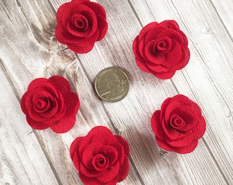 Red burlap flowers - Set of 5 - Crafting roses - Craft supply flowers - 1 3/4 inch - DIY headband - Crafting supplies - Burlap roses