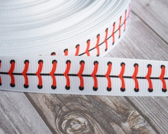 "Baseball ribbon - 7/8"" grosgrain - 3 or 5 yard lot - Baseball stitch ribbon - Baseball season - Baseball Bow DIY - Sports ribbon"