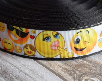 Emoji ribbon - Poop emoji - 1 inch grosgrain - 3 or 5 yards - Smiley face ribbon - Emoticon ribbon - Smiley craft DIY - DIY emoji bows