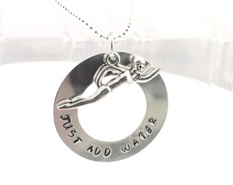 Swim necklace, swim team necklace, washer necklace, olympic swim jewelry, lifeguard, aluminum washer necklace, hand stamped jewelry