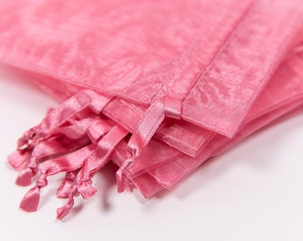 100 Rose Pink Organza Bags | 4x6 inch Sheer Bags | Sheer Fabric Bags | Jewelry Pouches |  Favor Bags