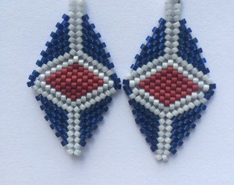 Red White and Blue Beaded Patriot Earrings - Sterling Silver