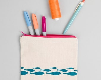 Hand printed Pencil Case/ Make Up/ Cosmetic Bag Turquoise Fish