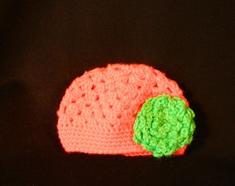 Crocheted Baby Beanie with Flower 6 - 12 months old