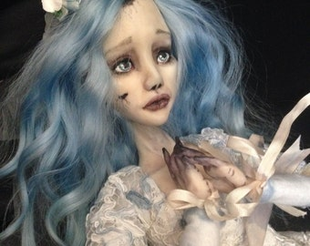 OOAK Polymer Clay Doll Emily Corpse Bride Boudoir Doll Tim Burton
