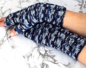 Blue melange fingerless gloves, blue women mittens, blue melange mittens, gift for her
