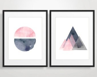 Set of 2 Prints, Abstract Watercolor, Large art, Minimalist poster, Pink Grey Circle Triangles, Abstract Modern art, Geometric watercolor