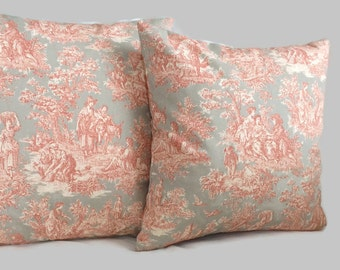 SALE - Last one! Coral Toile Pillow, Clay Gray Throw Pillow Cushion Cover Waverly Pillow French Country Cottage Decor Farmhouse Pillow