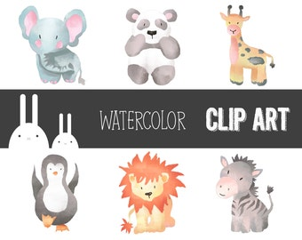 Cute Watercolor Zoo Animal Clip Art Set - Commercial & Personal Use