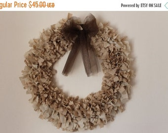ON SALE Country Style Beige Rag Wreath