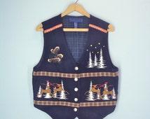 Vintage Embroidered Vest / 80s Ugly Christmas Vest / Holiday Top / Christmas Top / Reindeer Christmas Trees