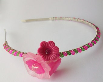 Tropical Paradise ~ Glass beaded Alice band. Hair band. Ladies hair accessory