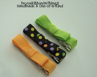 Halloween Trio | Hair Clips for Girls | Toddler Barrette | Baby Hair Clips| Kids Hair Accessories | Grosgrain Ribbon | No Slip Grip