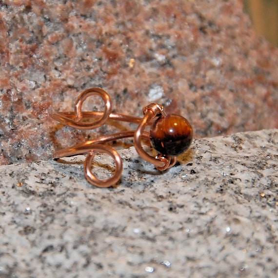Copper and Tiger Eye Gemstone Ring. Adjustable. Also Available in 925 Sterling Silver