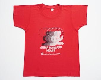 Vintage 80's Sport Tee-Shirt Jump Rope for Heart Association Foundation