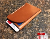 Folded Minimalist Leather Wallet Digital PDF Template - Leather Pattern (A4)