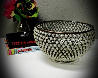 vintage brass hand beaded bowl with translucent beads
