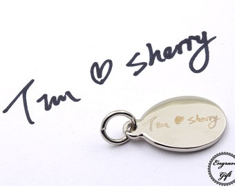 Tear Drop Pear KeyRing Charms Custom Made Actual Handwriting, Real Hand Signature , Drawing Replica, Text Laser Engrave, international S&H