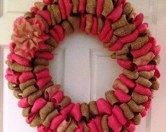 Burlap Wreath - Pink