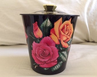 Vintage Large Rose Tin Container with Lid