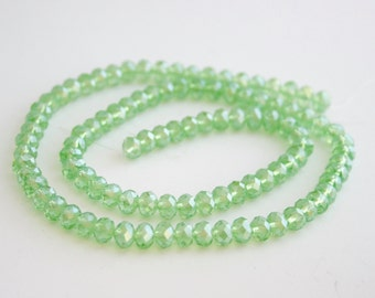 Rondelle Loose Beads, 4x3mm - 40 beads - Jewellery Making Supplies - Swarovski Green Crystal Beads