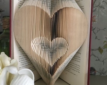 Folded book art heart in a heart