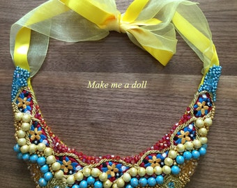 Embroidered and embellished collar necklace