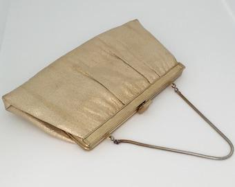 Vintage Purse--Vintage Clutch--Vintage Gold Lame Purse--Gold Lame Evening Bag--Vintage Ande Purse