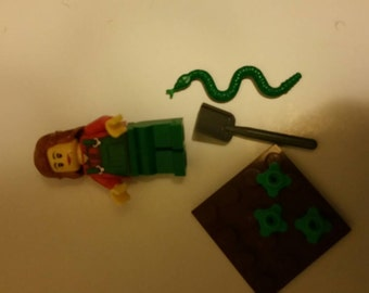 Lego gardener and green snake