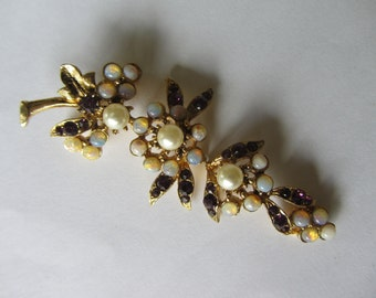 Vintage articulated mid century flower brooch. Quality large 1950s simulated gold, pearl,opal,ruby floral spray. 3.2""