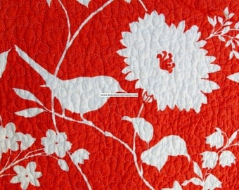 Orange and White Birds Flowers Nature Print ~ Full Queen Quilt & Shams ~ Reversible Cottage Floral Shabby Chic ~ Free Shipping