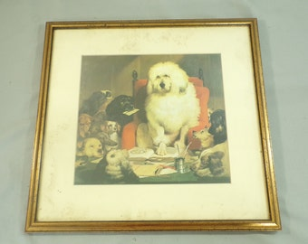 Vintage 70s Framed Landseer Dog Print, Legal Print, Laying Down the Law, Trial by Jury Print, dogs Art, Dog Print, Framed Dog Art, Dog Lover