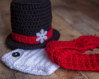 Snowman outfit, Snowman photo prop,  infant photo prop snowman, snowman tophat, infant snowman, snowman baby, snowman set, tophat for baby