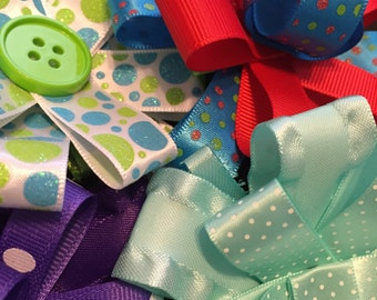Ribbon Flower Bow Hair Clips - Many Colors & Ribbon Designs to Choose From