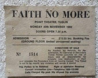 1992 Faith No More Concert Ticket