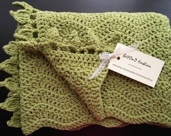 Green baby blanket Crochet cotton baby blanket Baby girl Baby boy Beyond Fashion